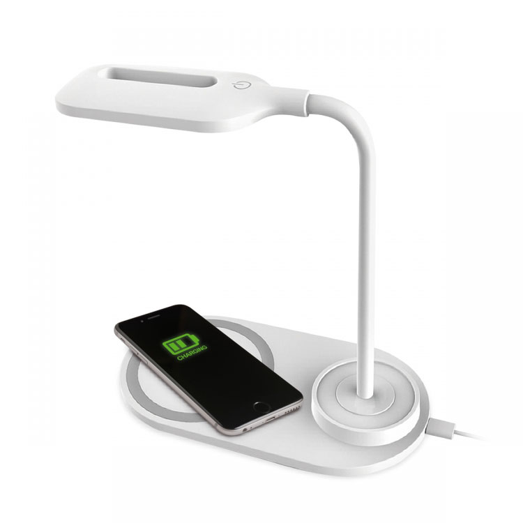 Platinet PDL1930W Modern LED Desk Lamp + Qi Wireless Charger (White)