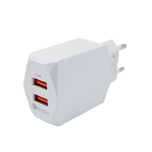 PowerOn CH-85 Dual USB Home Quick Charger με υποστήριξη Quick Charge QC3.0 White: Φορτιστής Ρεύματος με διπλή θύρα USB