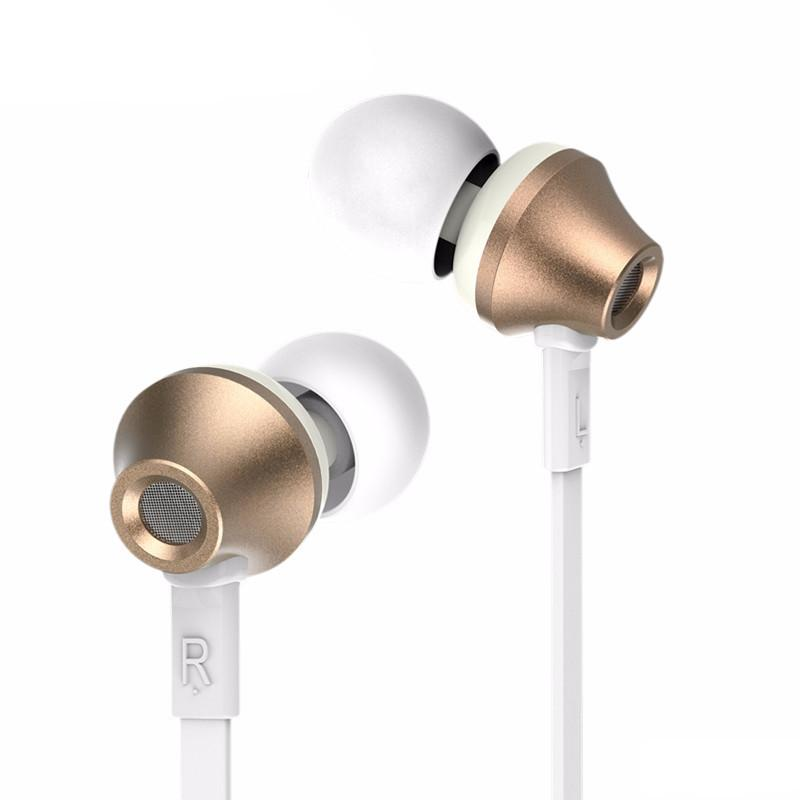 Remax RM-610D Gold: Wired Metal Housing + Flat Cable Earphones για Κλήσεις & Μουσική (Android / Windows / iOS)