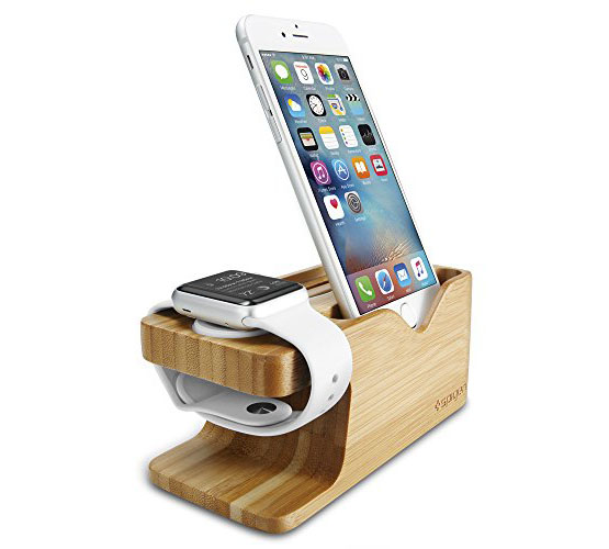 Spigen S370 Apple Watch + iPhone Stand: 2-in-1 Bamboo Charging Docking Station + Card Holder (000ST20295)