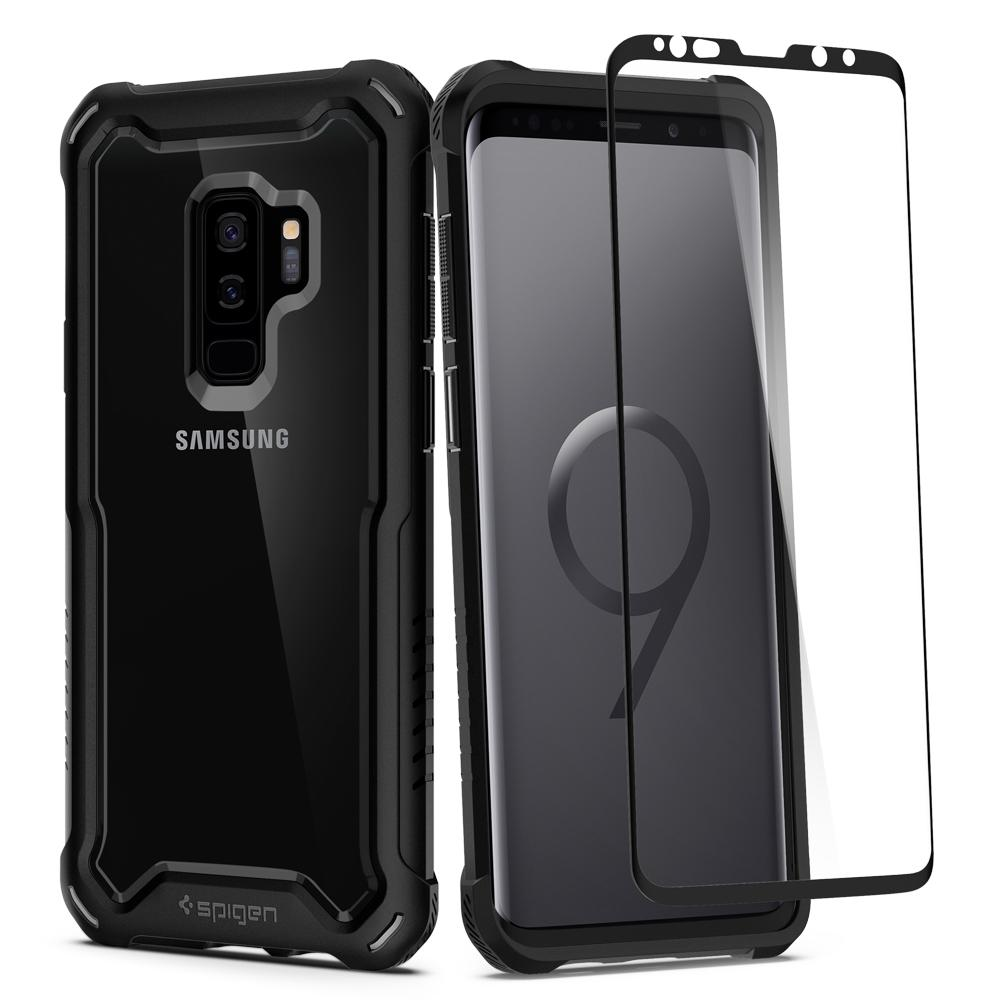 Spigen (SGP-593CS23042) Case Hybrid 360 για Samsung SM-G965F Galaxy S9+ (Plus) Black + Spigen Tempered Glass Case Friendly