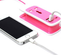 Soultronic S13 Pink: 2 x USB Travel Charger + Universal Socket (φορτιστής ρεύματος με 2 θύρες USB + πρίζα) n1905