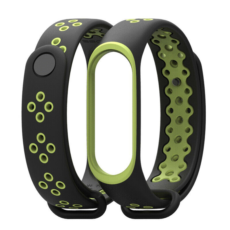 Soultronic Replacement Sport Silicone Band Black/Lime για Xiaomi Mi Band 3 & 4
