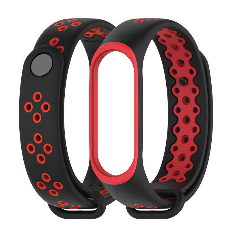 Soultronic Replacement Sport Silicone Band Black/Red για Xiaomi Mi Band 3 & 4