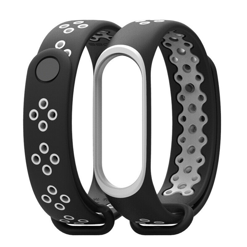 Soultronic Replacement Sport Silicone Band Black/White για Xiaomi Mi Band 3 & 4
