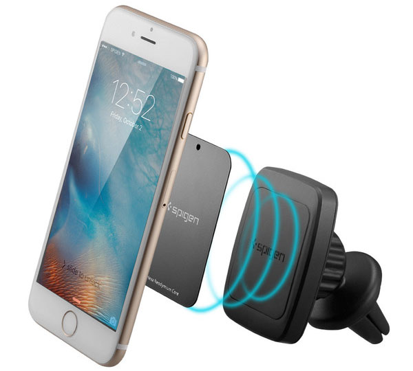 Spigen A201 Premium Magnetic Air Vent Car Mount (Hexa Neodymium Core): Μαγνητική βάση στήριξης αεραγωγών + Stand