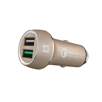 iFrogz UniqueSync Gold Premium Dual USB Car Charger @ 5.4A με τεχνολογία Qualcomm Quick Charge 3.0!