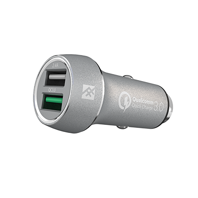 iFrogz UniqueSync Silver Premium Dual USB Car Charger @ 5.4A με τεχνολογία Qualcomm Quick Charge 3.0!