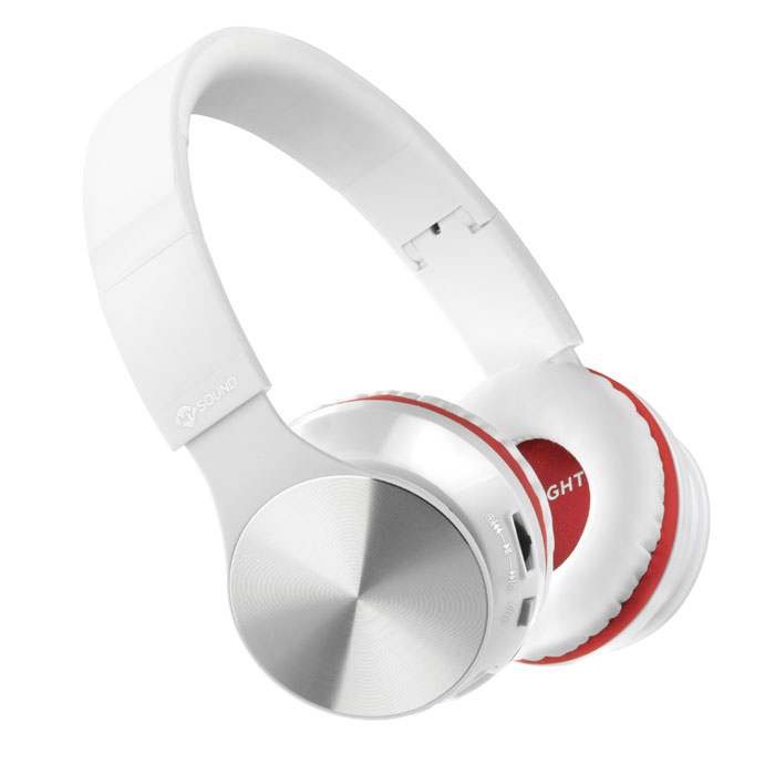 MELICONI 497459 MYSOUND SPEAK AIR WHITE/RED BT ON-EAR STEREO HEADPHONE (WITH MIC (Στερεοφωνικά Bluetooth ακουστικά , με μι...)
