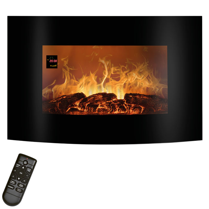 EK 6021 CB Electric Fireplace with curved glass front 900-1800 W (Ηλεκτρικό curved τζάκι τοίχου 1800W με τ...)