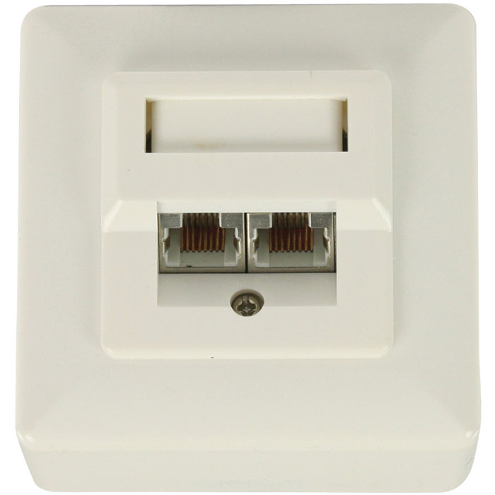 VLCP 89150I RJ45 wall plate with 2 RJ45 network connections (Πρίζα τοίχου εξωτερική για 2x RJ45)