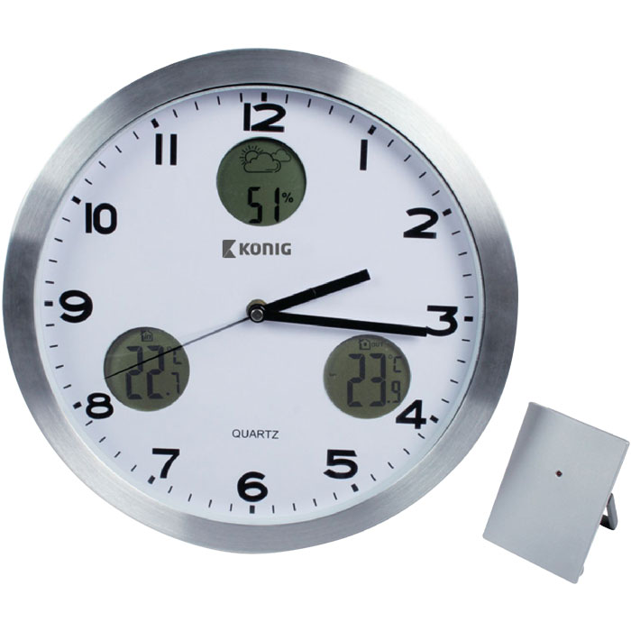 KN-CL 30N WALL CLOCK WITH TEMPERATURE AND OUTSIDE SENSOR (Επιτοίχιο ρολόι )