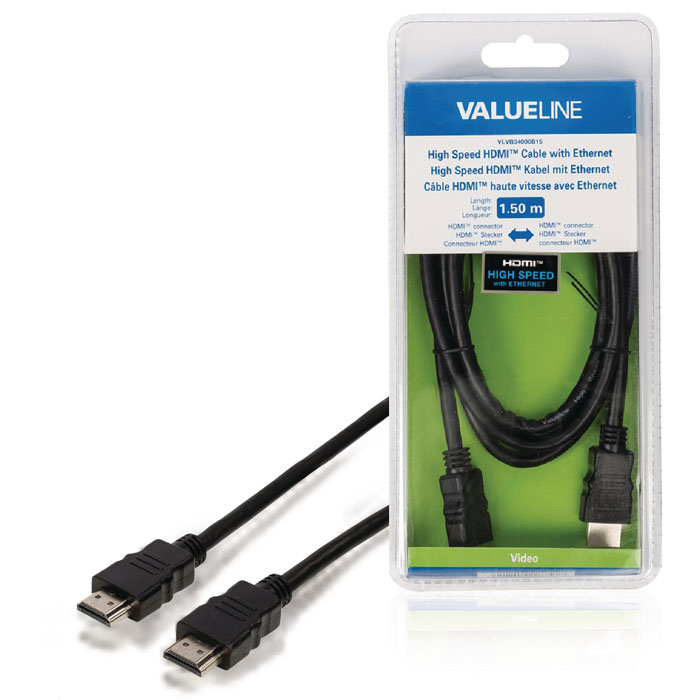 VLVB 34000B 1.50 HDMI cable with Ethernet HDMI connector (Καλώδιο HDMI αρσ)