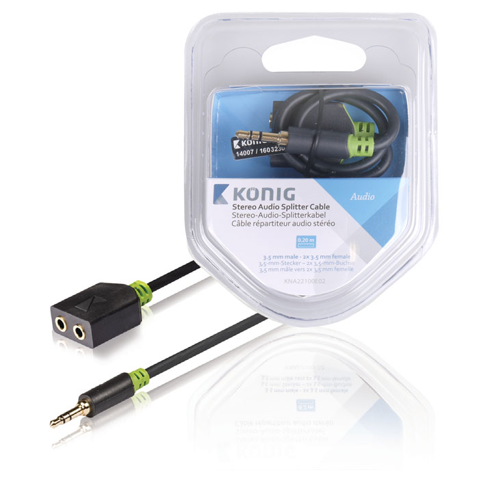 KNA 22100E 0.20 Stereo Audio Cable 3.5 mm Male - 2x 3.5 mm Female 0.20 m Anthrac (Αντάπτορας ήχου 3,5mm Stereo αρσ)