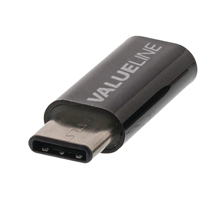 VLCP 60910B USB 2.0 Adapter USB-C Male - USB Micro B Female Black (Αντάπτορας USB 20 type C αρσ)