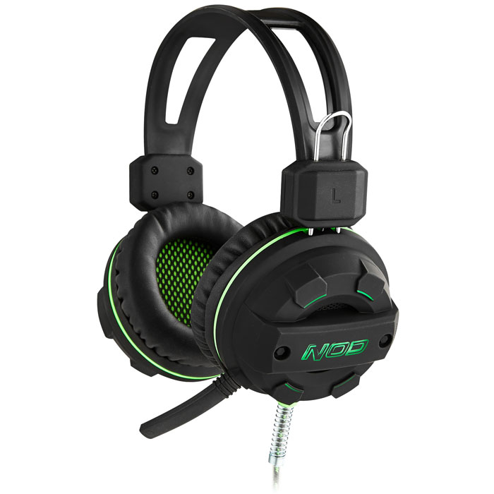 NOD G-HDS-002 GAMING HEADSET BLACK RUBBER WITH GREEN LED (Gaming headset με ελαστικό μικρόφωνο, σε...)