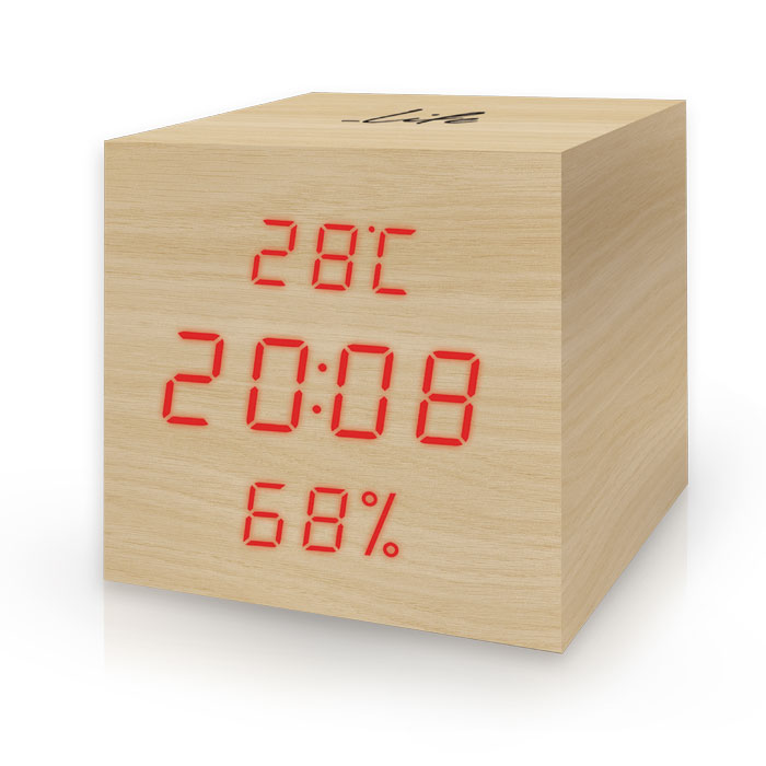 LIFE WES-105 Cube Wooden Thermometer/hygrometer with clock and alarm(natural red (Ξύλινο ψηφιακό θερμόμετρο/υγρόμετρο εσωτ...)