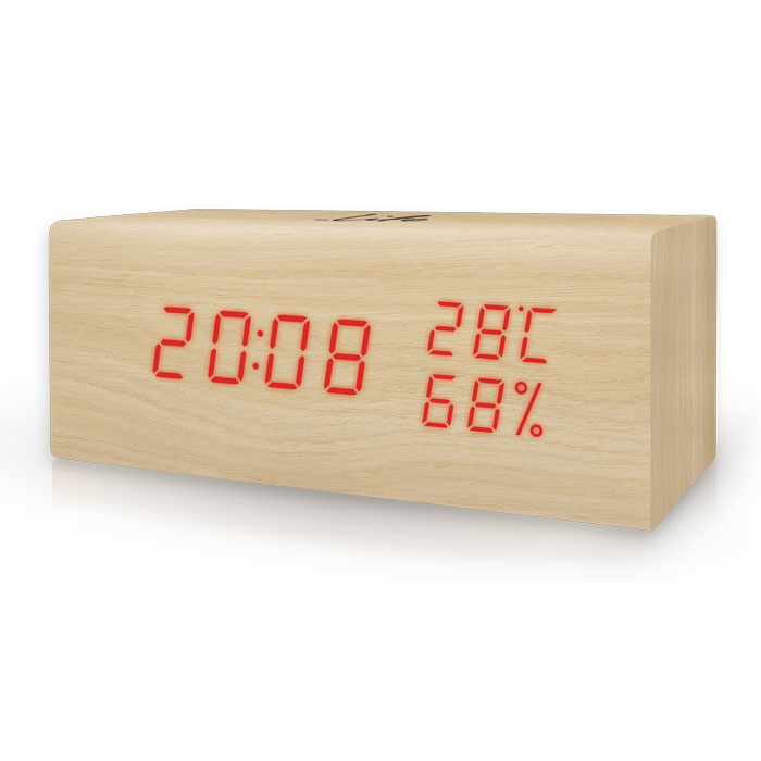 LIFE WES-106 Block wooden Thermometer/hygrometer with clock and alarm(natural re (Ξύλινο ψηφιακό θερμόμετρο/υγρόμετρο εσωτ...)
