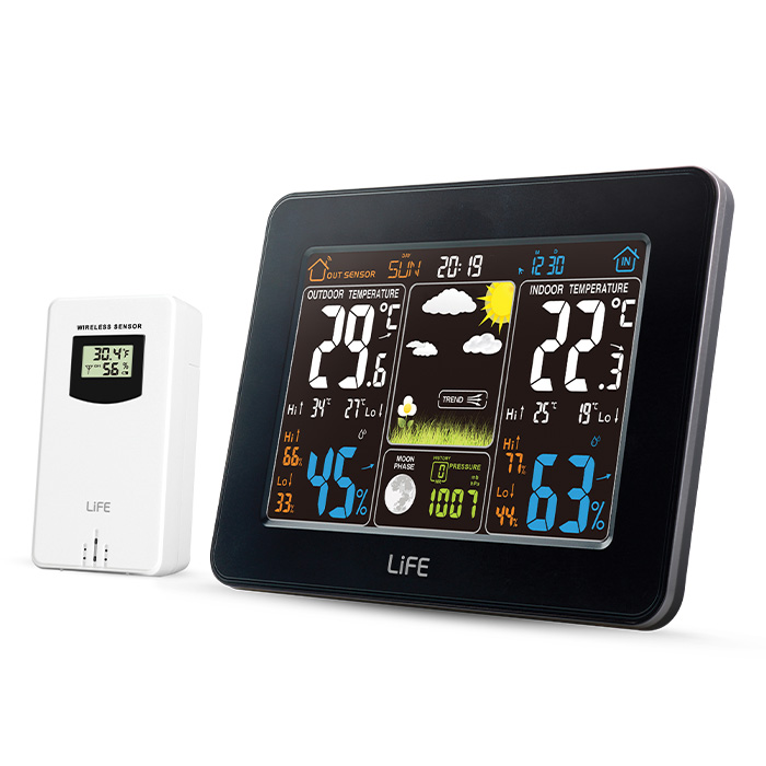 LIFE WES-300 Weather station with adaptor & wireless outdoor sensor,clock& alarm (Μετεωρολογικός σταθμός με ασύρματο εξωτε...)