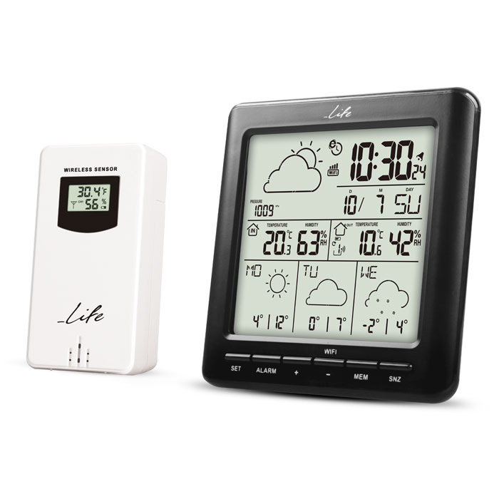 LIFE WES-400 Wi-Fi Weather station with wireless outdoor sensor,clock& alarm fun (Wi-Fi Μετεωρολογικός σταθμός με ασύρματο...)