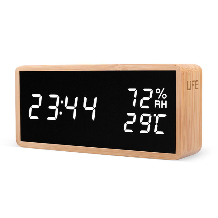 LIFE WES-108 BAMBOO Thermometer/hygrometer with clock and alarm,LED digits (Bamboo ψηφιακό θερμόμετρο/υγρόμετρο εσωτ...)