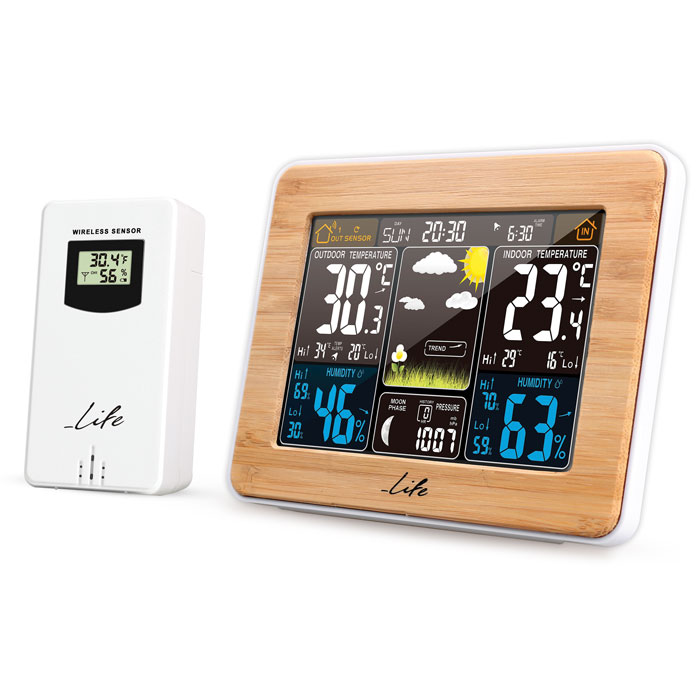 LIFE Rainforest Bamboo Edition Weather station with adaptor & wireless outdoor s (Bamboo μετεωρολογικός σταθμός με ασύρματ...)