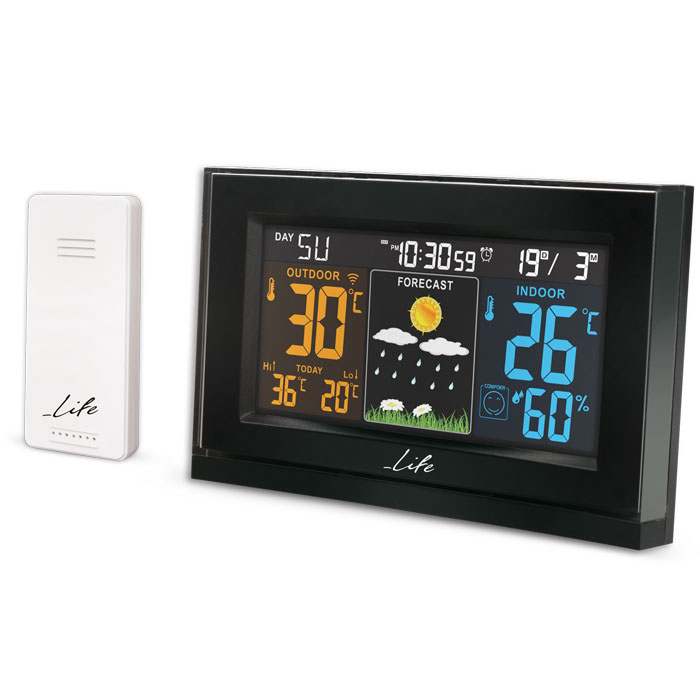 LIFE Tundra Curved Weather station with adaptor & wireless outdoor sensor,clock& (Curved Design Μετεωρολογικός σταθμός με ...)