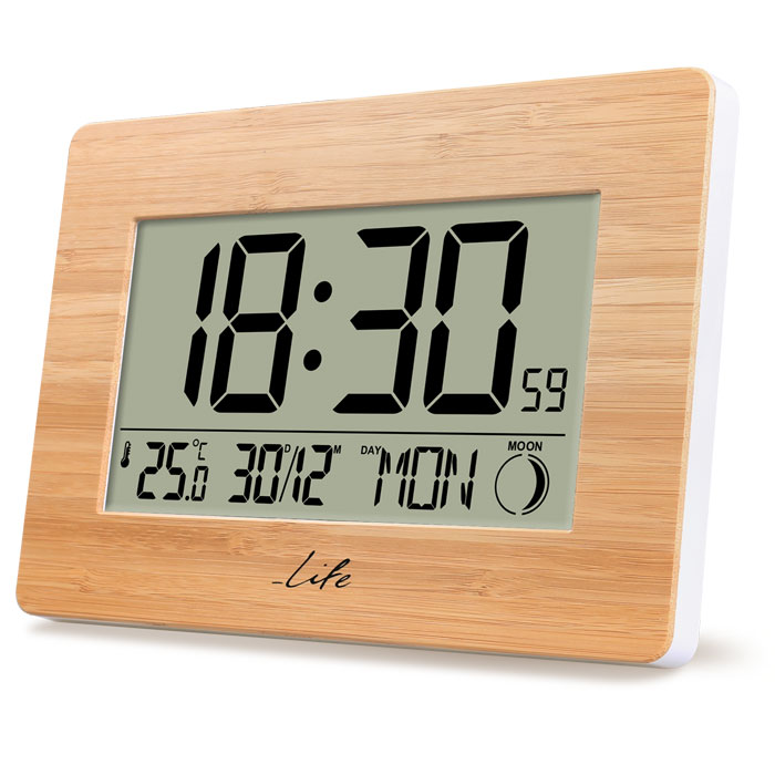 LIFE Bamboo Clock XL Alarm Clock with indoor thermometer (Bamboo ψηφιακό ρολόι / ξυπνητήρι με XL ο...)