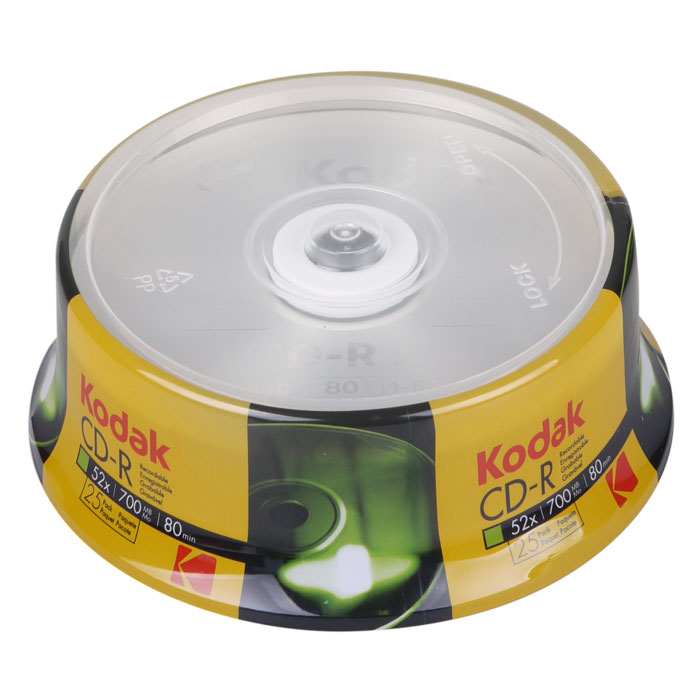 KODAK CD-R 25-Pack 52x 700MB (KODAK CD-R 52x 700MB, 25-pack cakebox)