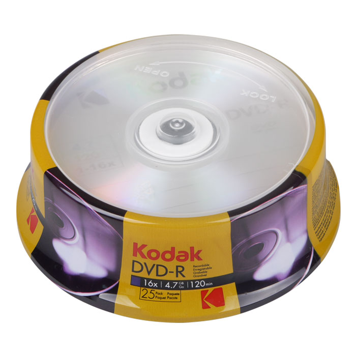 KODAK DVD-R 25-Pack 16x 4.7GB (KODAK DVD-R 16x 47GB, 25-pack cakebox)
