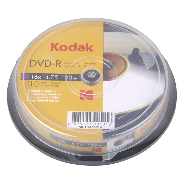 KODAK DVD-R Printable 10-Pack 16x 4.7GB (KODAK DVD-R 16x 47GB, Εκτυπώσιμα, 10-pac...)