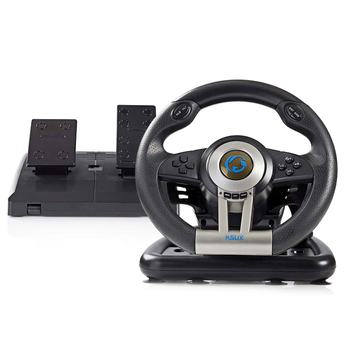 NEDIS GSWL200BK Gaming Steering Wheel, Manual Shifter Option, Foot Pedals, Force (Gaming τιμονιέρα για PC)
