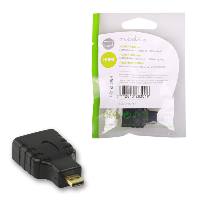 NEDIS CVGP34907BK HDMI Adapter, HDMI Micro Connector - HDMI Female,| Black (Αντάπτορας HDMI micro αρσ)