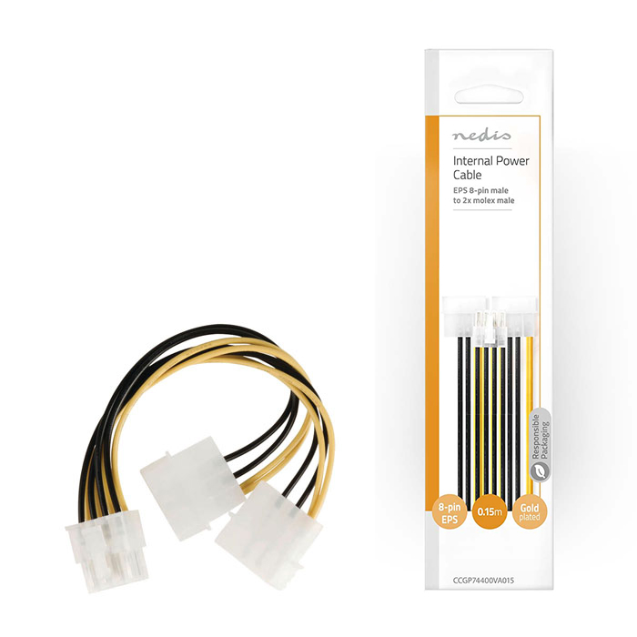 NEDIS CCGP74400VA015 Internal Power Cable, EPS 8-pin Male - 2x Molex Male, 0.15m (Καλώδιο-splitter τροφοδοσίας 2x Molex 4-...)