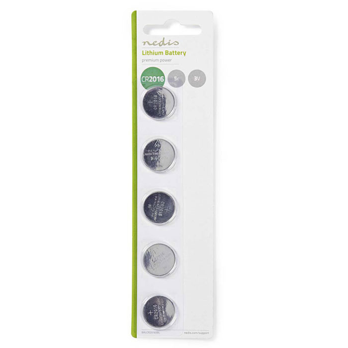 NEDIS BALCR20165BL Lithium Button Cell Battery CR2016, 3V, 5 pieces, Blister (Μπαταρία λιθίου (κουμπί) CR2016 3V σε bl...)