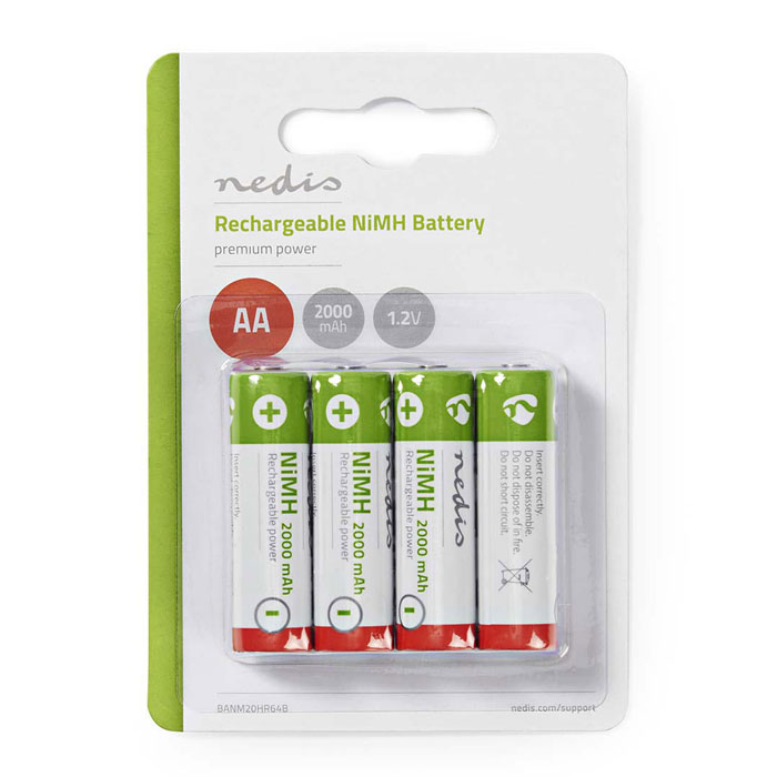NEDIS BANM20HR64B Rechargeable Ni-MH Battery AA, 1.2V, 2000 mAh, 4 pieces, Blist (Επαναφορτιζόμενες μπαταρίες ΑΑ Νi-MH 200...)