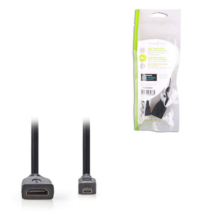 NEDIS CVGP34790BK02 High Speed HDMI Cable with Ethernet, HDMI Micro Connector - (Αντάπτορας High Speed HDMI, HDMI micro )