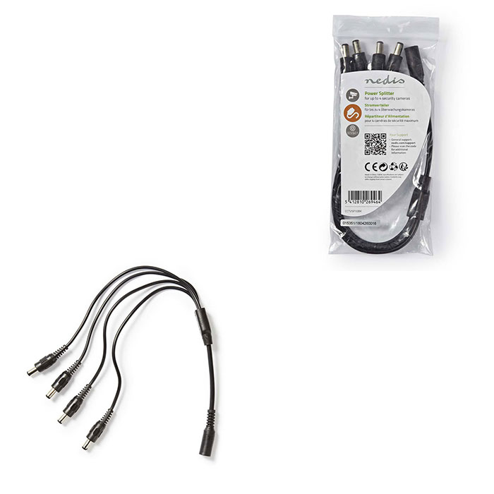 NEDIS CCTVSP10BK CCTV Power Cable Splitter 1x F to 4x M 0.35m 5.5x2.1 DC Connect (Διαχωριστής τροφοδοσίας DC 1x θηλυκό σε ...)