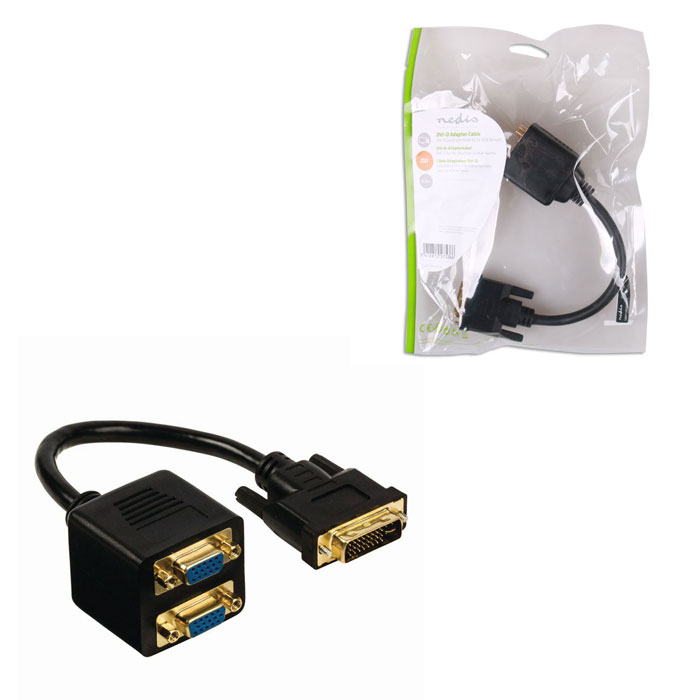 NEDIS CCGP32952BK02 DVI Adapter Cable DVI-I 24+5-pin Male-2x VGA Female 0.2m Bla (Splitter DVI-I 24+5-pin αρσ)