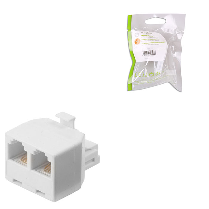 NEDIS TCGP90995WT Telecom Splitter RJ11 Male-2x RJ11 Female White (Ταφ RJ11 6x4, 1 αρσ)
