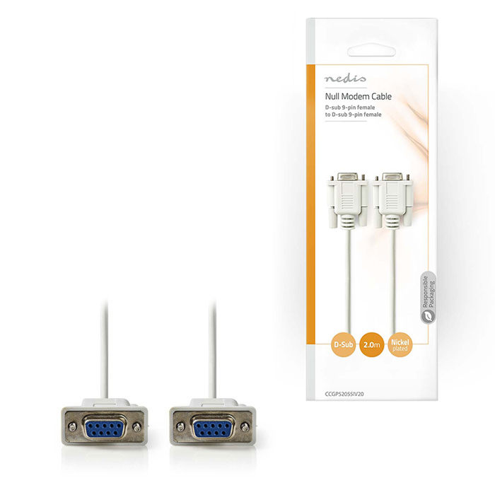 NEDIS CCGP52055IV20 Null Modem Cable D-Sub 9-pin Female - D-Sub 9-pin Female 2.0 (Καλώδιο Null Modem, D-Sub 9 pin θηλ)