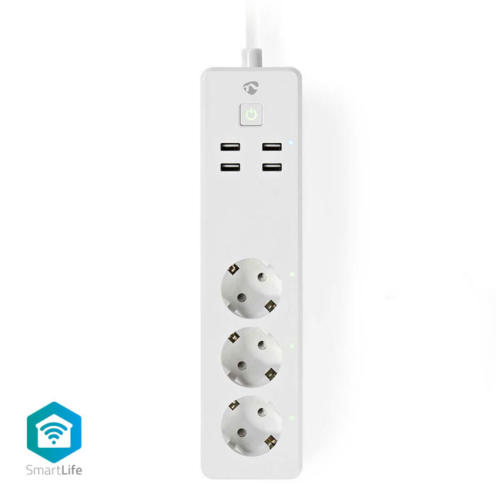 NEDIS WIFIP310FWT WiFi Smart Extension Socket 3x Schuko Type F 4x USB 16A (WiFi έξυπνο πολύπριζο 3 θέσεων και 4 θυρ...)