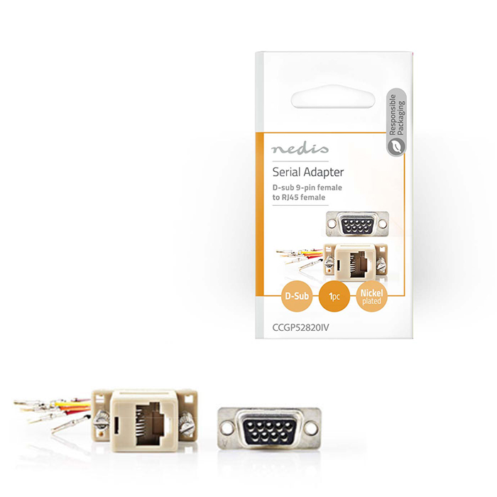 NEDIS CCGP52820IV D-Sub Adapter D-Sub 9-Pin Female - RJ45 (8P8C) Female Ivory (Αντάπτορας D-Sub 9 pin θηλ)