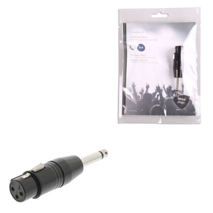 NEDIS COTP15940BK XLR Adapter Mono XLR 3-pin Female - 6.35 mm Male Black (Αντάπτορας XLR 3-Pin θηλ)