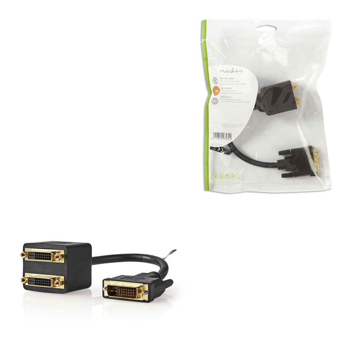 NEDIS CCGP32950BK02 DVI Cable DVI-D 24+1-pin Male - 2x DVI-D 24+1-pin Female 0.2 (Splitter DVI-D D αρσ)