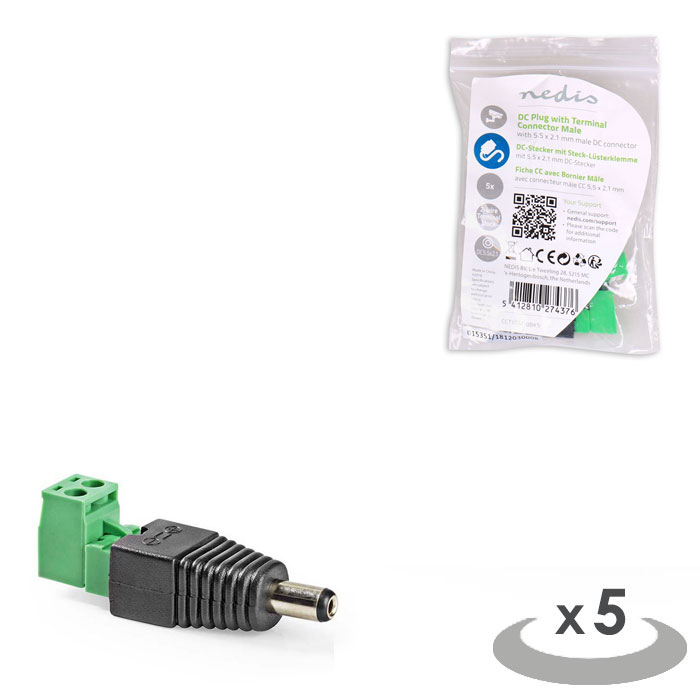 NEDIS CCTVCM10BK5 CCTV Security Connector 2-Wire to Male DC 5,5 x 2,1 mm (Αρσενικό βύσμα τροφοδοσίας DC με σύνδεση...)
