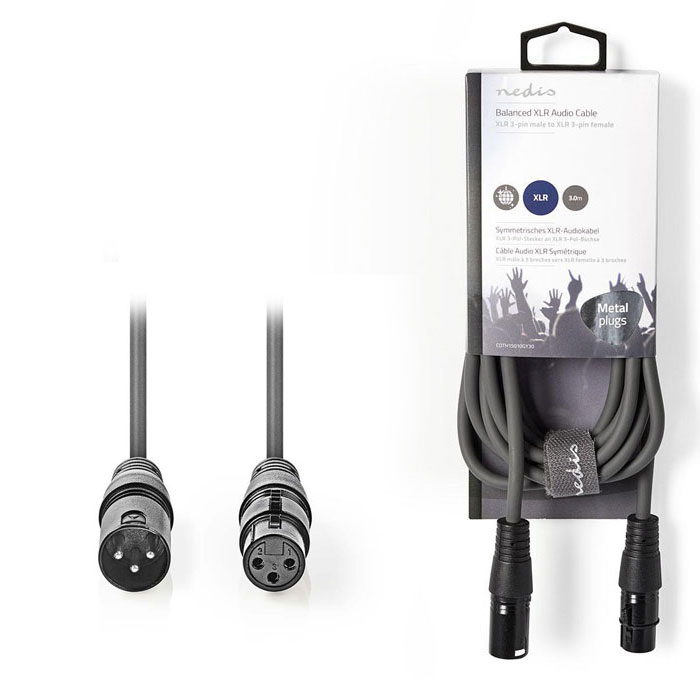 NEDIS COTH15010GY30 Balanced XLR Audio Cable XLR 3-Pin Male - XLR 3-Pin Female 3 (Kαλώδιο ήχου 3pin XLR θηλ)