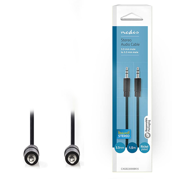 NEDIS CAGB22000BK15 Stereo Audio Cable 3.5 mm Male - 3.5 mm Male 1.5 m Black (Καλώδιο ήχου 3,5mm αρσ)
