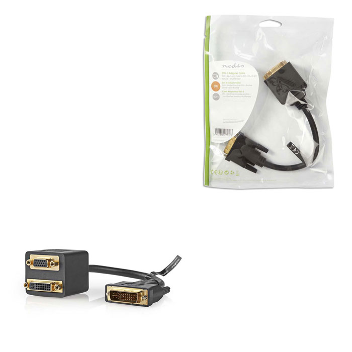 NEDIS CCGP32953BK02 DVI Adapter Cable DVI-I 24+5-pin Male - DVI-I 24+5-pin Femal (Splitter DVI-I αρσ)