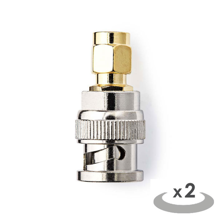 NEDIS CSGP02960GD SMA - BNC Adapter SMA Male - BNC Male 2 pieces Gold / Metal (Μεταλλικός αντάπτορας SMA αρσ)